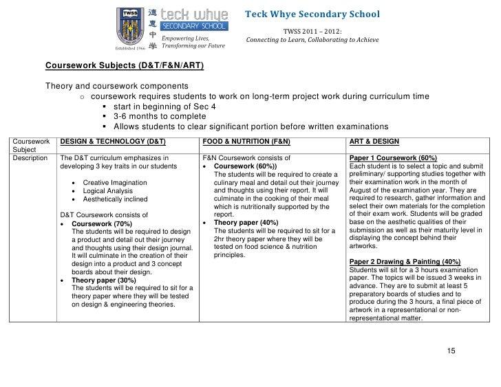f&n coursework priority list