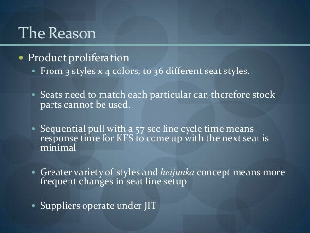 The Reason  Product proliferation  From 3 styles x 4 colors, to 36 different seat styles.  Seats need to match each par...