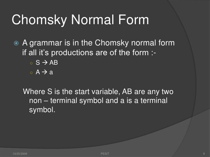 Backus Naur and Chomsky Normal Forms