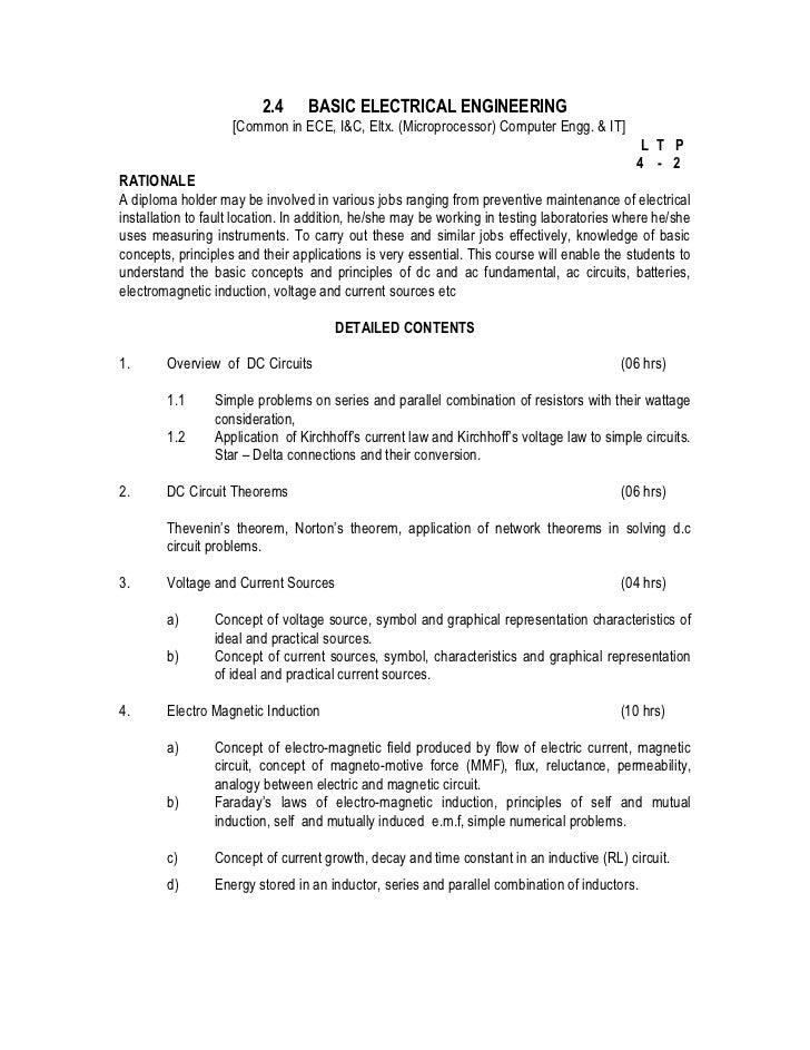 2.4      BASIC ELECTRICAL ENGINEERING                    [Common in ECE, I&C, Eltx. (Microprocessor) Computer Engg. & IT] ...