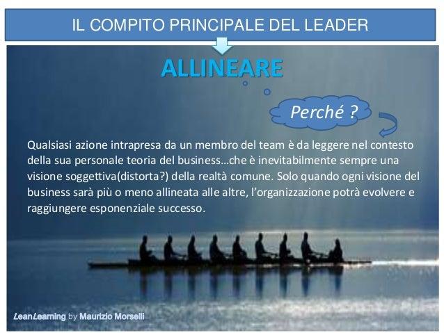 11 IL COMPITO PRINCIPALE DEL LEADER ALLINEARE Perché ? Qualsiasi azione intrapresa da un membro del team è da leggere nel ...