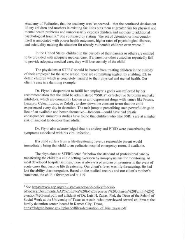 Complaint against family detention doctors