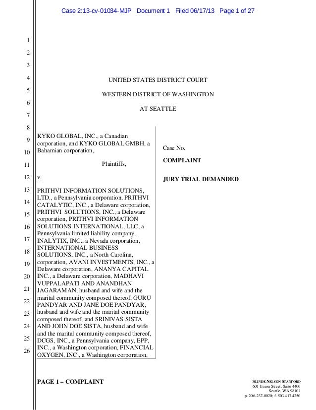 PAGE 1 – COMPLAINT 1 2 3 4 5 6 7 8 9 10 11 12 13 14 15 16 17 18 19 20 21 22 23 24 25 26 SLINDE NELSON STANFORD 601 Union S...