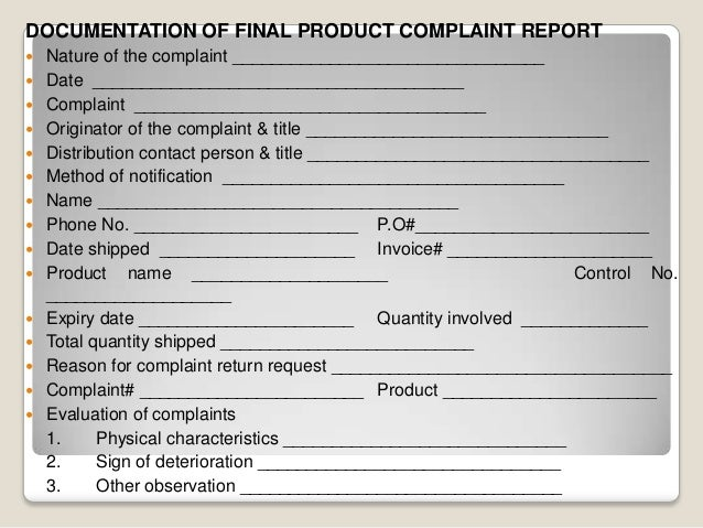 Complaint Handling In Pharmaceutical Companies Product