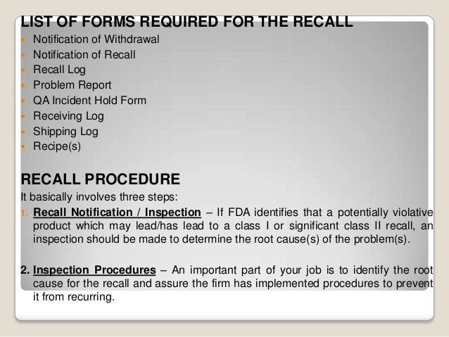 Complaint handling in pharmaceutical companiesproduct recallretenti 23 list of forms required for the recall notification spiritdancerdesigns Gallery