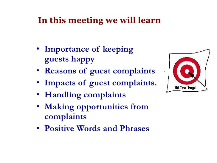 Complaint Handling Keeping Guests Happy – Complaint Words