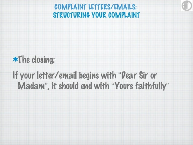 Complaint letters complaint lettersemails ccuart Choice Image
