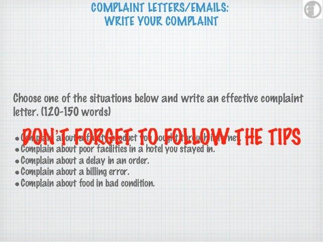 Complaint letters – Complaint Words