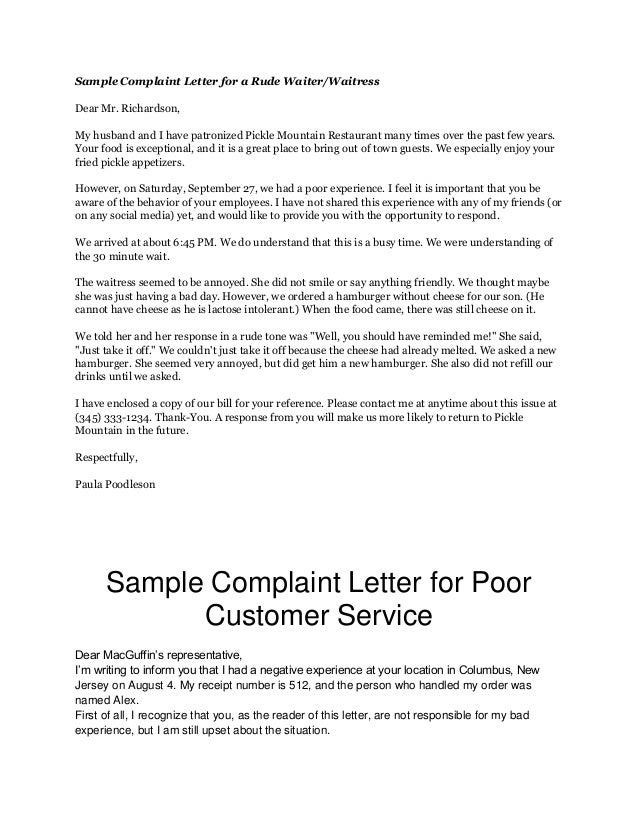 Sample Complaint Letter For A Rude Waiter WaitressDear Mr RichardsonMy Husband And