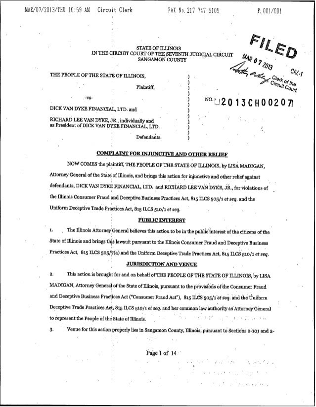 Illinois Complaint Against Financial Advisor Charged With