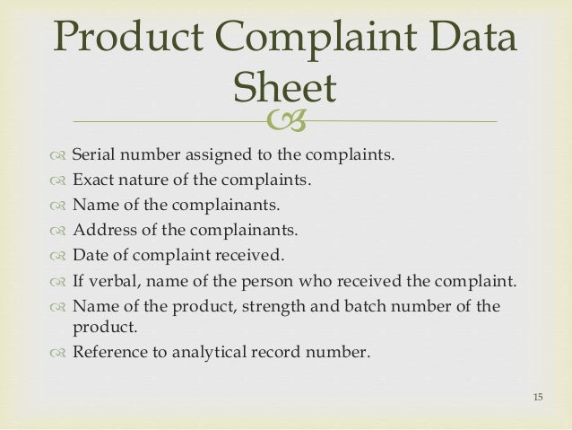 nature of complaint sample