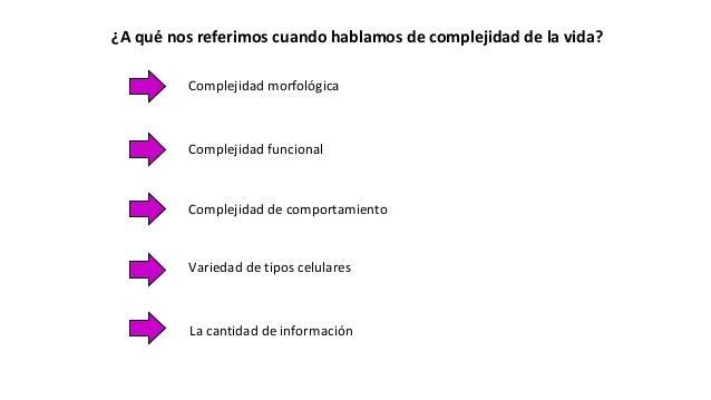 ¿A qué nos referimos cuando hablamos de complejidad de la vida? Complejidad morfológica Complejidad de comportamiento Comp...