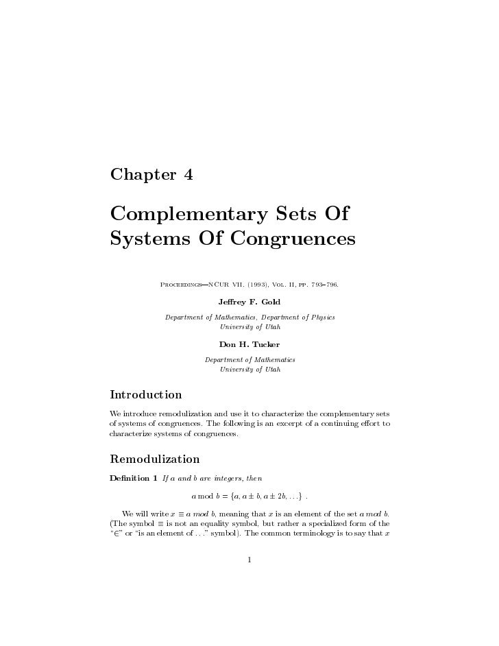 Chapter 4  Complementary Sets Of Systems Of Congruences               Proceedings|NCUR VII. 1993, Vol. II, pp. 793 796.   ...