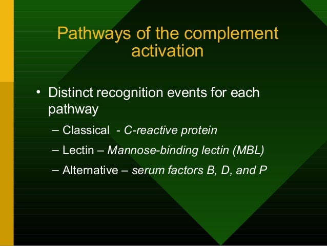 Pathways of the complement activation • Distinct recognition events for each pathway – Classical - C-reactive protein – Le...