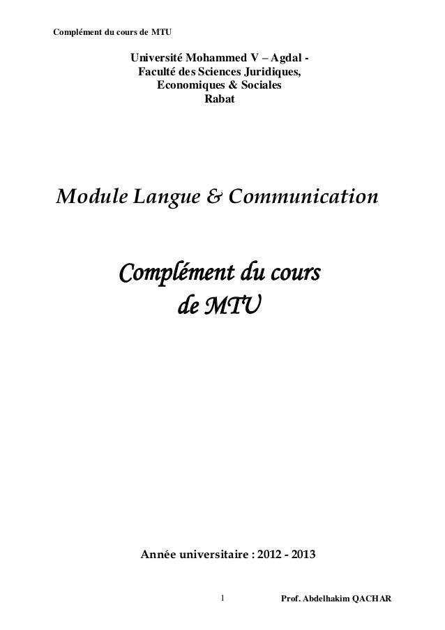 Complément du cours de MTU                Université Mohammed V – Agdal -                 Faculté des Sciences Juridiques,...
