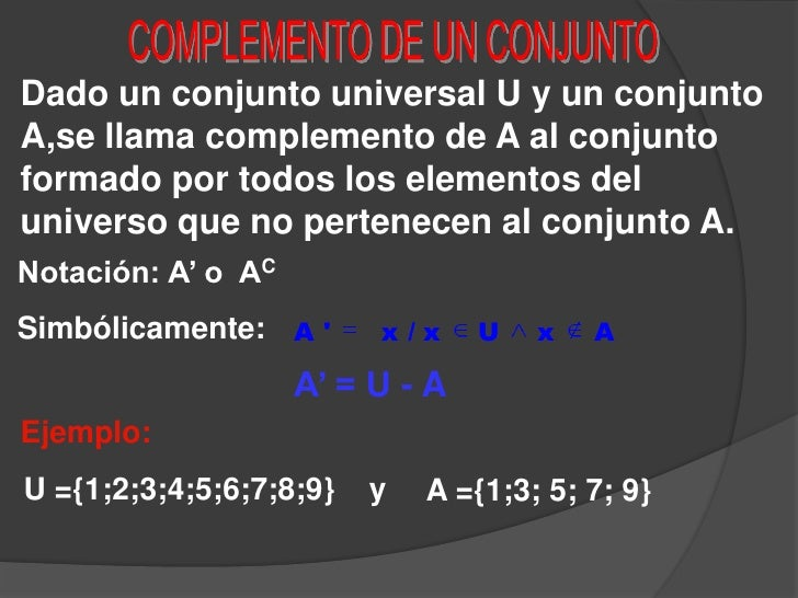 COMPLEMENTO DE UN CONJUNTO<br />Dado un conjunto universal U y un conjunto A,se llama complemento de A al conjunto formado...