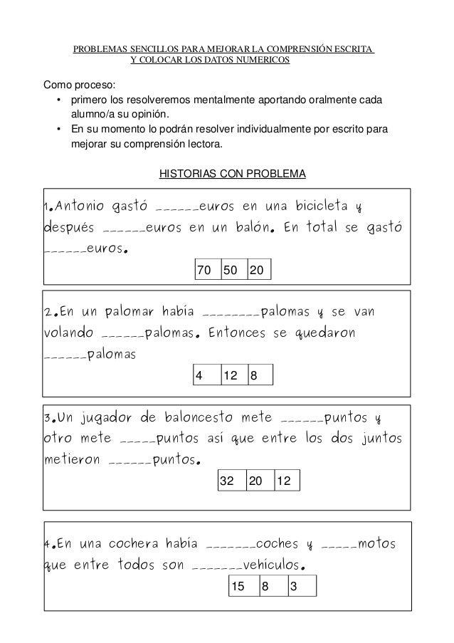 PROBLEMASSENCILLOSPARAMEJORARLACOMPRENSIÓNESCRITA YCOLOCARLOS...