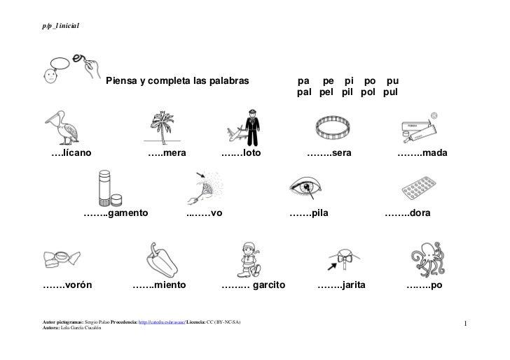 p/p_l inicial                              Piensa y completa las palabras                                       pa pe pi p...