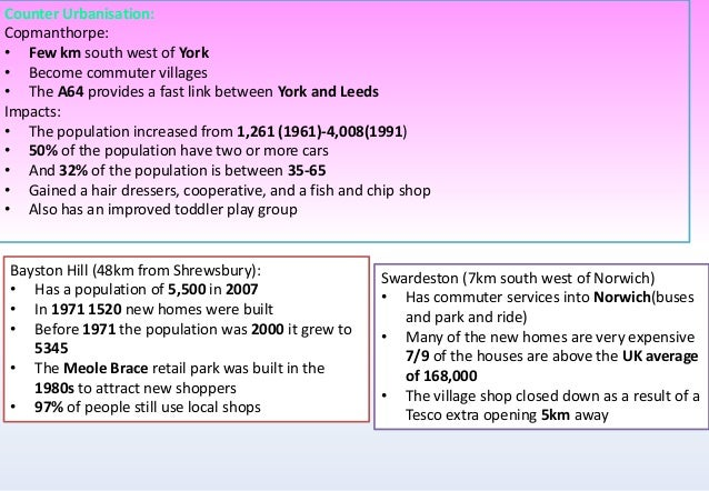 counterurbanisation case study a2