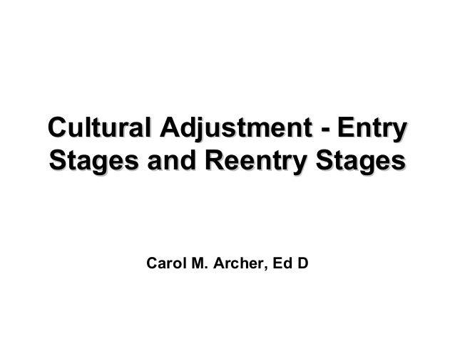 Cultural Adjustment - EntryCultural Adjustment - Entry Stages and Reentry StagesStages and Reentry Stages Carol M. Archer,...