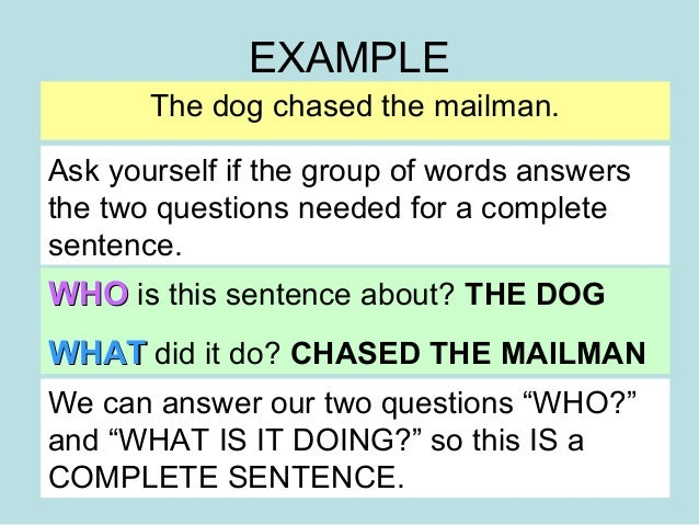Complete and incomplete sentences reteach