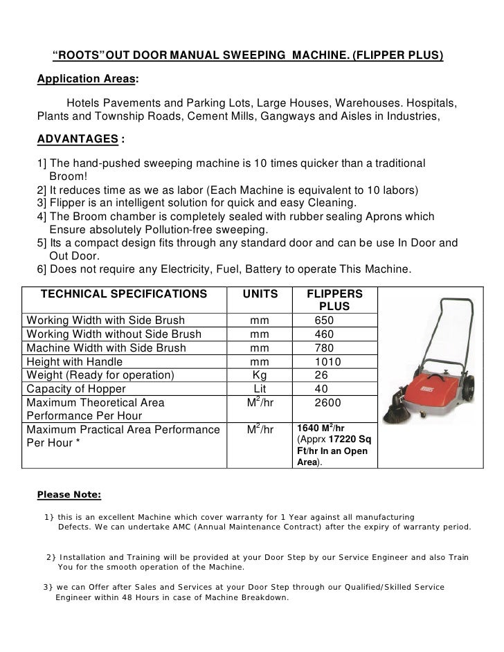 """ROOTS""OUT DOOR MANUAL SWEEPING MACHINE. (FLIPPER PLUS) Application Areas:       Hotels Pavements and Parking Lots, Large ..."