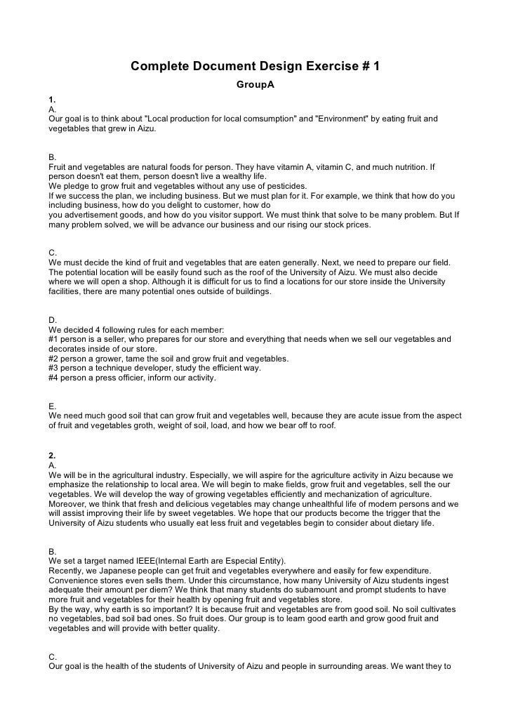 Complete Document Design Exercise # 1                                                      GroupA 1. A. Our goal is to thi...