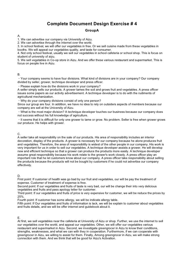 Complete Document Design Exercise # 4                                                      GroupA A. 1. We can advertise o...