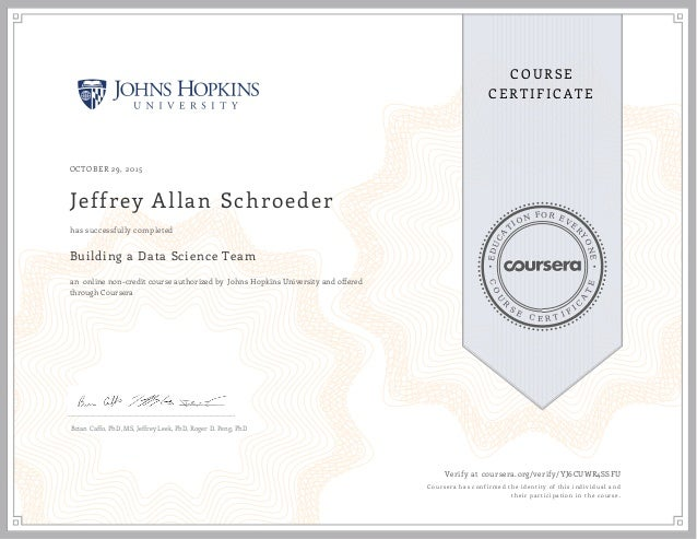 Completed Specialization Certificate For Building Data Science Teams