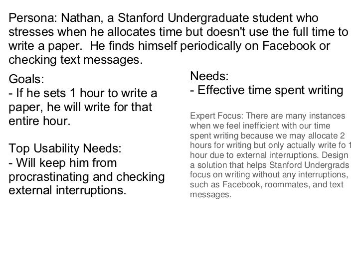 Persona: Nathan, a Stanford Undergraduate student who stresses when he allocates time but doesn't use the full time to wri...
