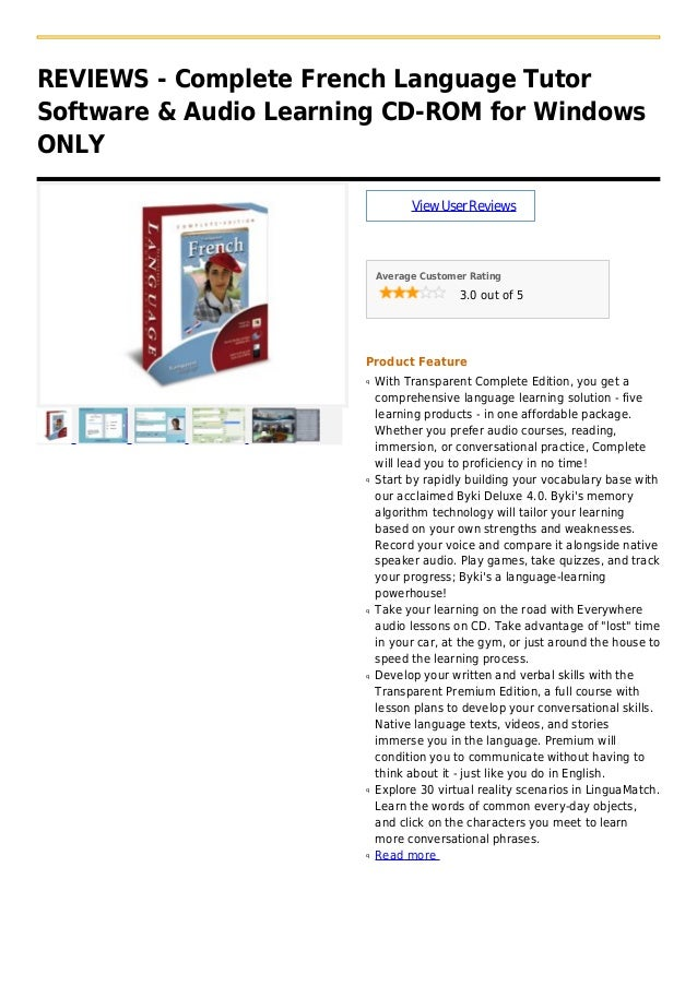 REVIEWS - Complete French Language TutorSoftware & Audio Learning CD-ROM for WindowsONLYViewUserReviewsAverage Customer Ra...