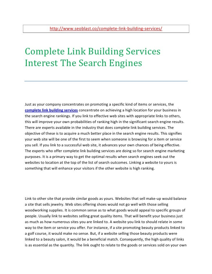 http://www.seoblast.co/complete-link-building-services/Complete Link Building ServicesInterest The Search EnginesJust as y...