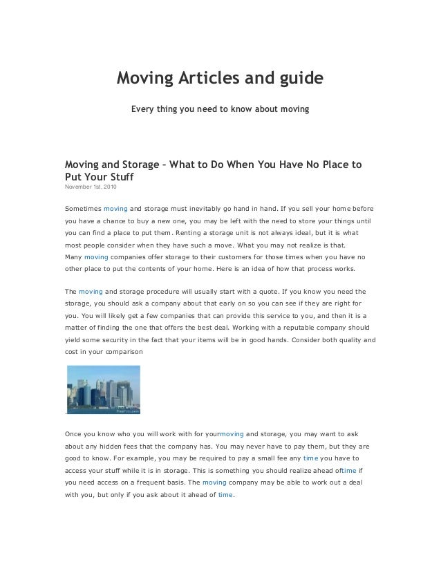 Moving Articles and guide Every thing you need to know about moving Moving and Storage – What to Do When You Have No Place...