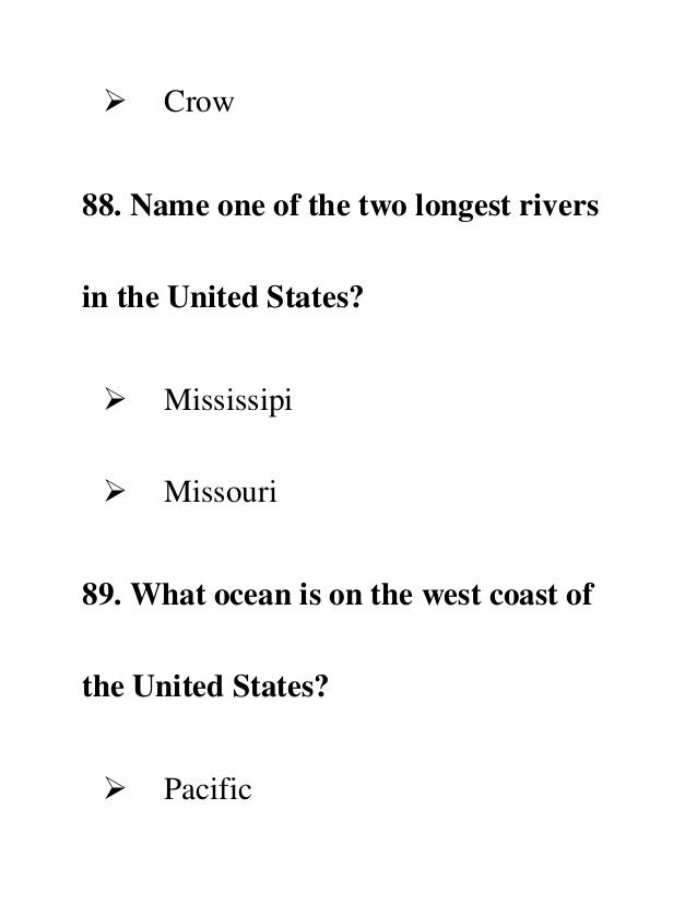 Complete N Form - Two longest rivers in the united states