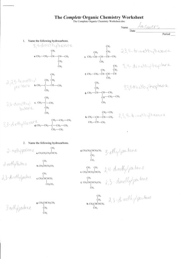 Complete organic chemistry worksheet answers – Naming Alkenes Worksheet