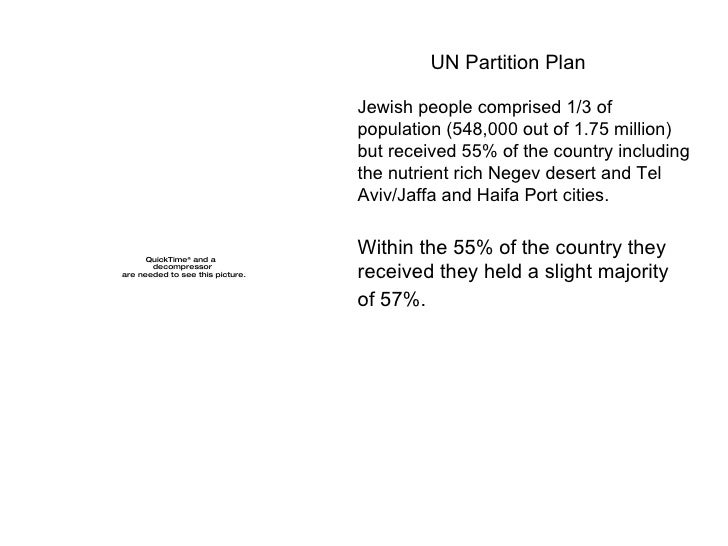 UN Partition Plan  Jewish people comprised 1/3 of population (548,000 out of 1.75 million) but received 55% of the country...