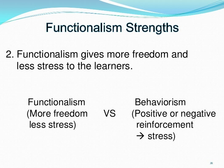 structuralism vs funcationalism Start studying structuralism and functionalism learn vocabulary, terms, and more with flashcards, games, and other study tools.