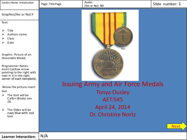 Learner Interaction: Text:  Title  Authors name  Class  Date Graphic: Picture of an Honorable Medal. Programmer Notes:...