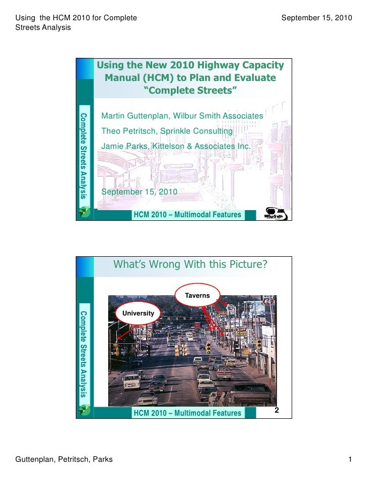Session 37: Using 2010 HCM for Complete Streets-PWPB