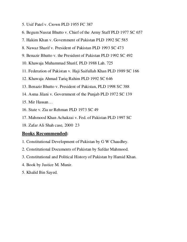 COMPLETE SYLLABI OF LL.B. PART - II  Maulvi Tamizuddin Case