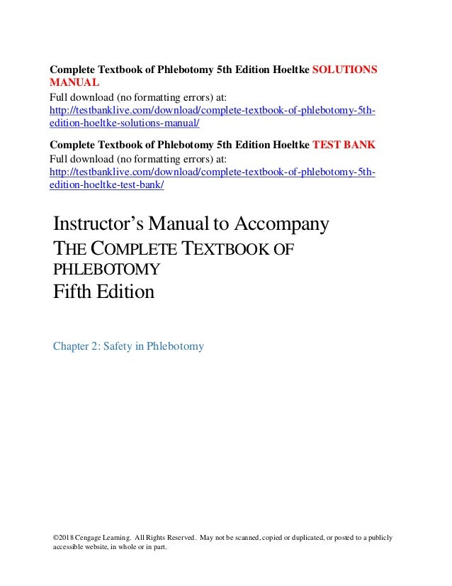 complete textbook of phlebotomy 5th edition hoeltke solutions manual rh slideshare net