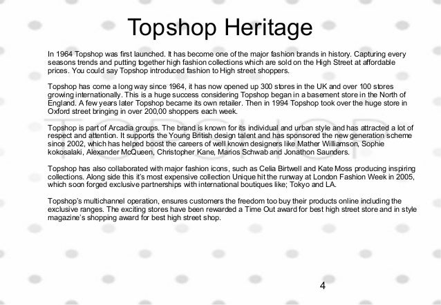 topshop objectives Free essay: marketing plan executive summary this marketing plan examines the case of topshop as a uk's fast-fashion retailer the following marketing plan.