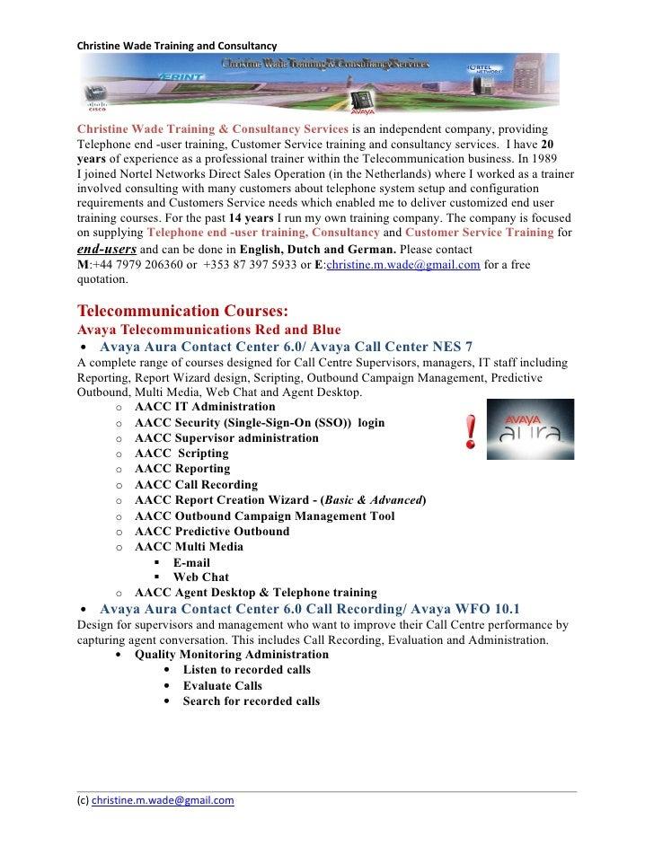 Christine Wade Training and ConsultancyChristine Wade Training & Consultancy Services is an independent company, providing...