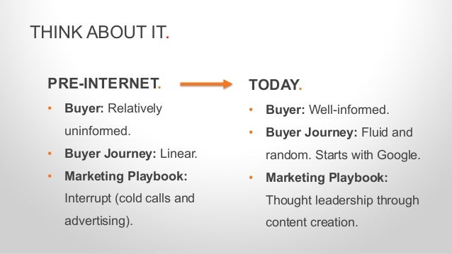 PRE-INTERNET. • Buyer: Relatively uninformed. • Buyer Journey: Linear. • Marketing Playbook: Interrupt (cold calls and adv...