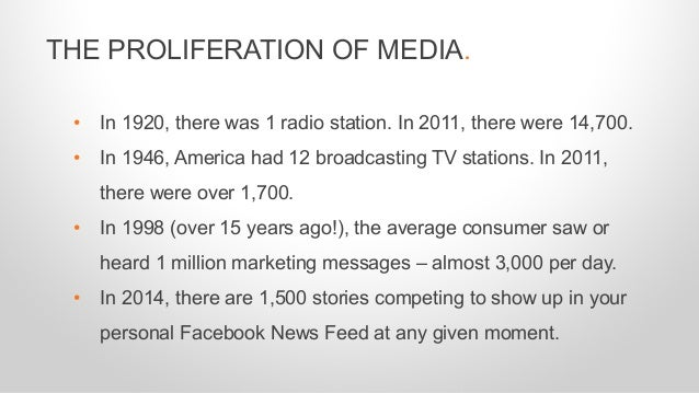 • In 1920, there was 1 radio station. In 2011, there were 14,700. • In 1946, America had 12 broadcasting TV stations. In 2...
