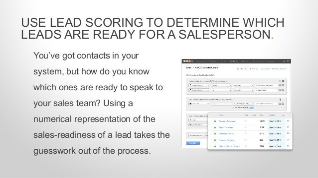 You've got contacts in your system, but how do you know which ones are ready to speak to your sales team? Using a numerica...