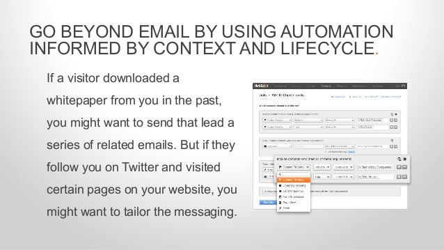 If a visitor downloaded a whitepaper from you in the past, you might want to send that lead a series of related emails. Bu...