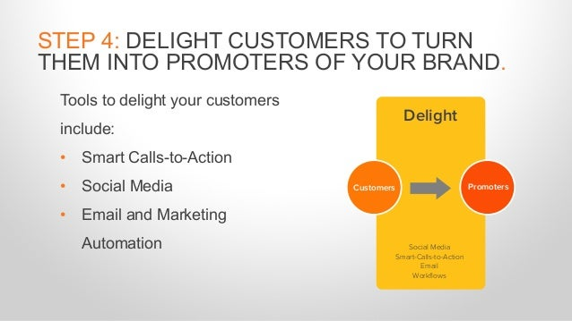 Tools to delight your customers include: • Smart Calls-to-Action • Social Media • Email and Marketing Automation STEP 4: D...