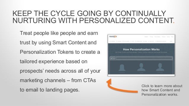 Treat people like people and earn trust by using Smart Content and Personalization Tokens to create a tailored experience ...