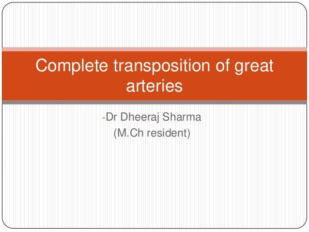Complete transposition of great  arteries  -Dr Dheeraj Sharma  (M.Ch resident)